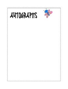 End of the Year Autograph Pages