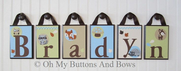 Forest Animal Theme Crib Name Letters . Hanging Nursery Name Letters. Nursery Name Blocks . Nursery Name Decor . Woodland Animals by OhMyButtonsAndBows on Etsy
