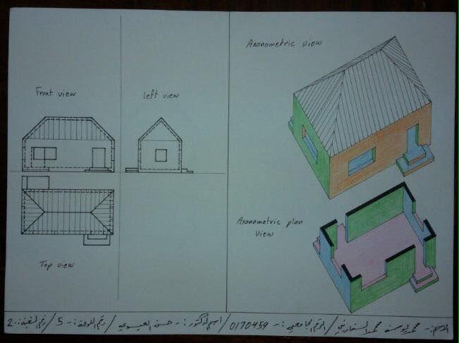 Mohammad Al Sfarini لوحة6: اسقاطات عمودية وقطاعات اكسنومترية لبيت بسقف مائل باربع طيات Edit | View | Share | Delete