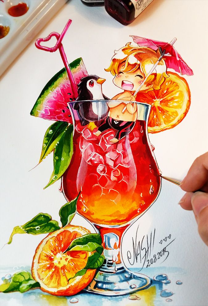 Actually i wanted to throw in a tutorial today but i couldn't stop drawing on the cocktail boys mwahahahahaa. I get addicted to everything cute straightaway Tools: Faber Castell Polychromos ...