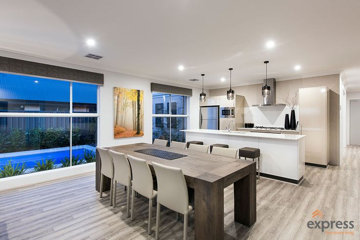 Kitchen and dining with a view of the pool