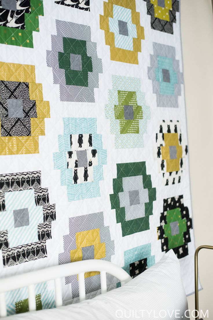 Quilty Beads Quilt Pattern - The baby Cotton and Steel One - Quilty Love.  Modern fat quarter friendly quilt pattern. Jelly roll quilt pattern,   layer cake and fat eighth quilt.  Easy beginner friendly quilt pattern.    Baby quilt using Cotton and Steel fabrics.