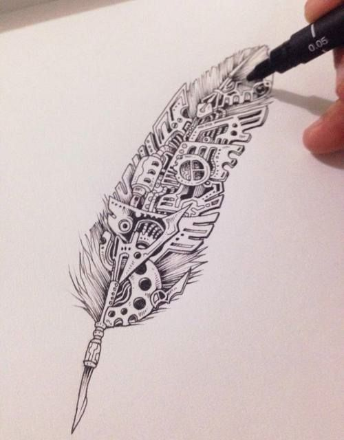 Graphic Design feather tattoo All Steampunk TattooS