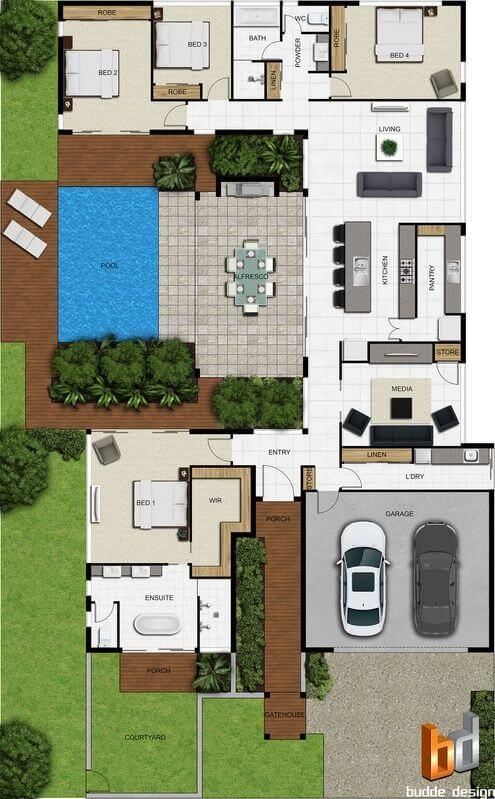 Here's a 4 bedroom floor plan where the master is at the front and 3 bedrooms are on the back. I like this plan. It would suit a narrow block, but it's built perfectly to allow a good entertaining are