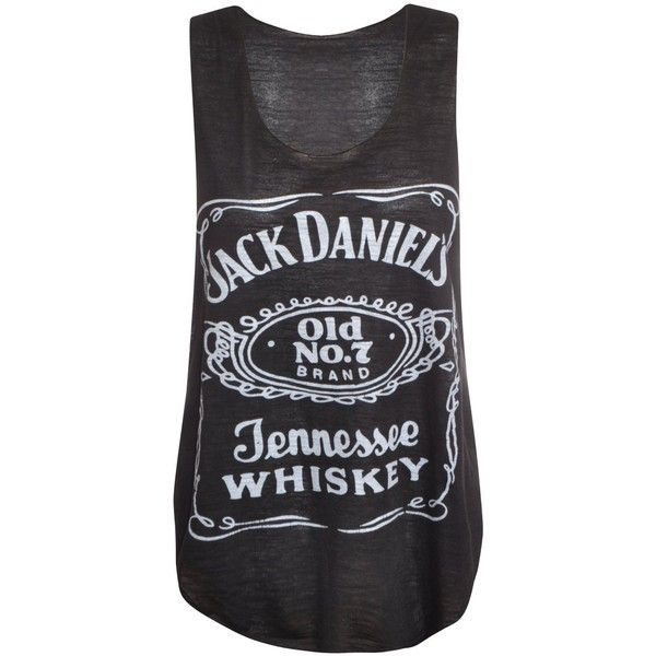 Womens Ladies Racer Back Jack Daniels Logo Print Contrast Stretch Vest... ❤ liked on Polyvore featuring tops, shirts, tank tops, tanks, stretch shirt, racerback top, racer back top, style&co tops and stretch tank