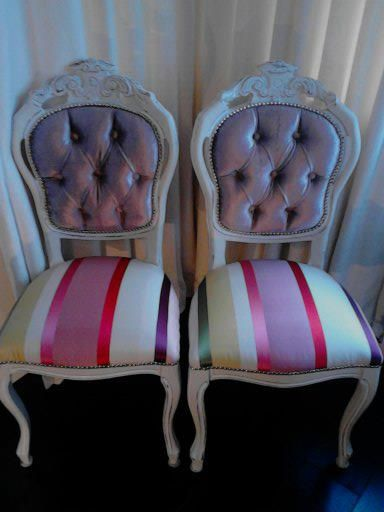 The Zaza Twins.  Repainted Winter White and Plymouth Beige and Reupholstered in  Today Interiors Fabrics
