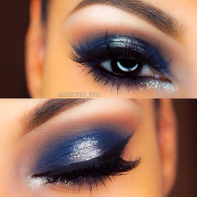 Pinterest: @ndeyepins | Maquillage bleu argenté // Blue silver eye-makeup