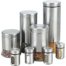 8-Piece Stainless Steel Canister & Spice Jar Set in Silver