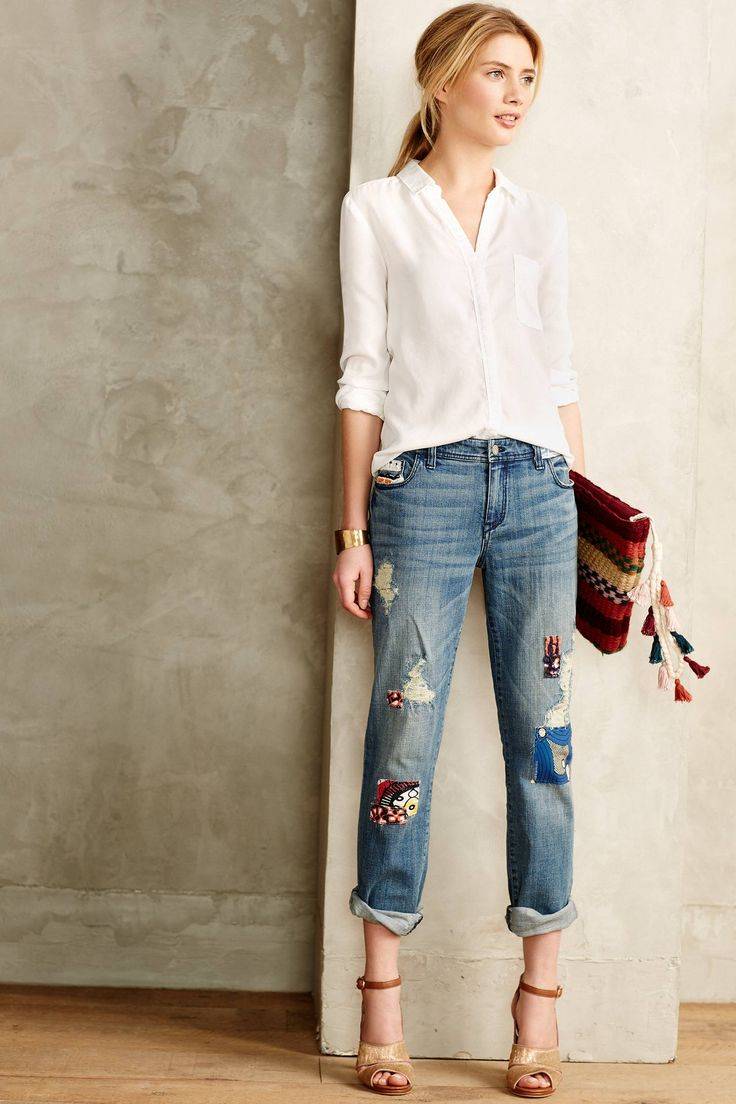 Pilcro Premium Hyphen Embellished Patchwork Jeans in Kanga (Anthropologie)