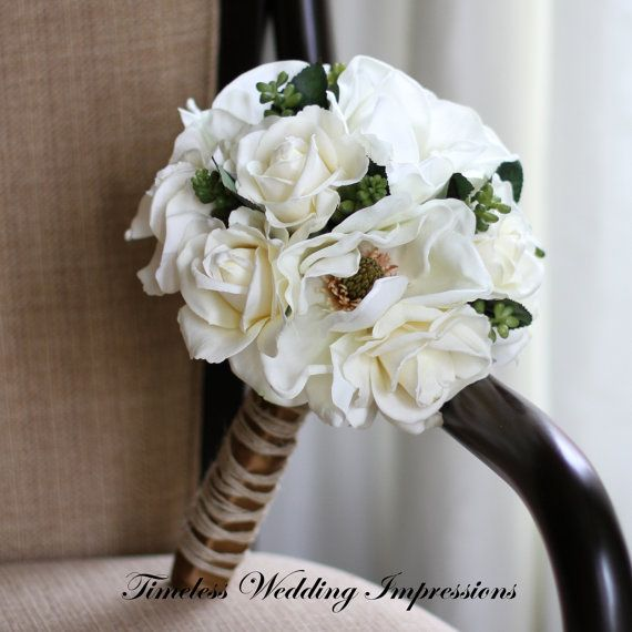 Rustic Wedding Bouquet Bridal Roses Magnolias