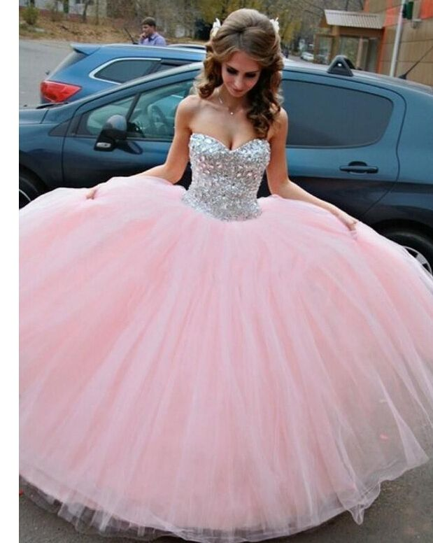 vestidos de quinceaneras 2016 Sweet 15 Year Pink Color Luxury Crystal Top Ball Gown Cheap Quinceanera Dress Custom Ball Gowns