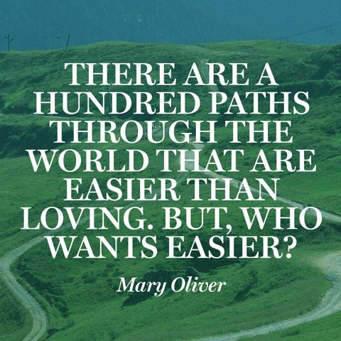 """""""There are a hundred paths through the world that are easier than loving. But, who wants easier?"""" — Mary Oliver"""