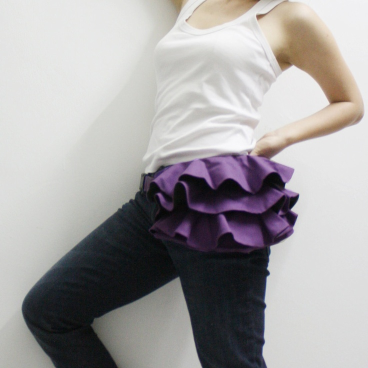 KINIES Ruffled Waist Purse in Purple Fanny Pack / Hip by Kinies