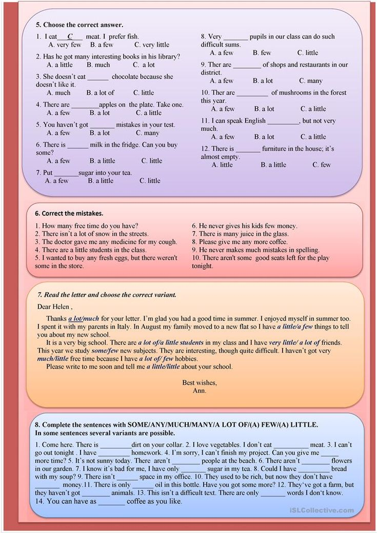 SOME/ANY/MUCH/MANY/A LOT OF/(A) FEW/(A) LITTLE worksheet - Free ESL printable worksheets made by teachers