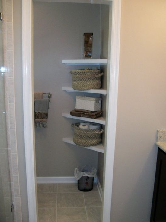 Corner shelves for a small bathroom