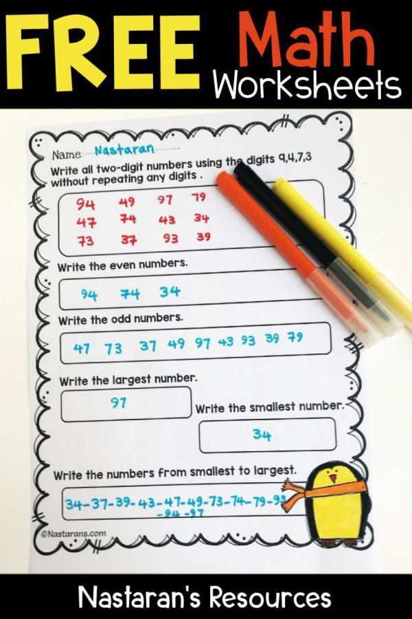 Free Elementary Math Worksheets Nastaran S Resources Free Math Worksheets Elementary Math Free Math