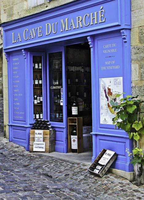 Blue Bordeaux Wine shop, St. Emilion, France by Mark And Judy Coran