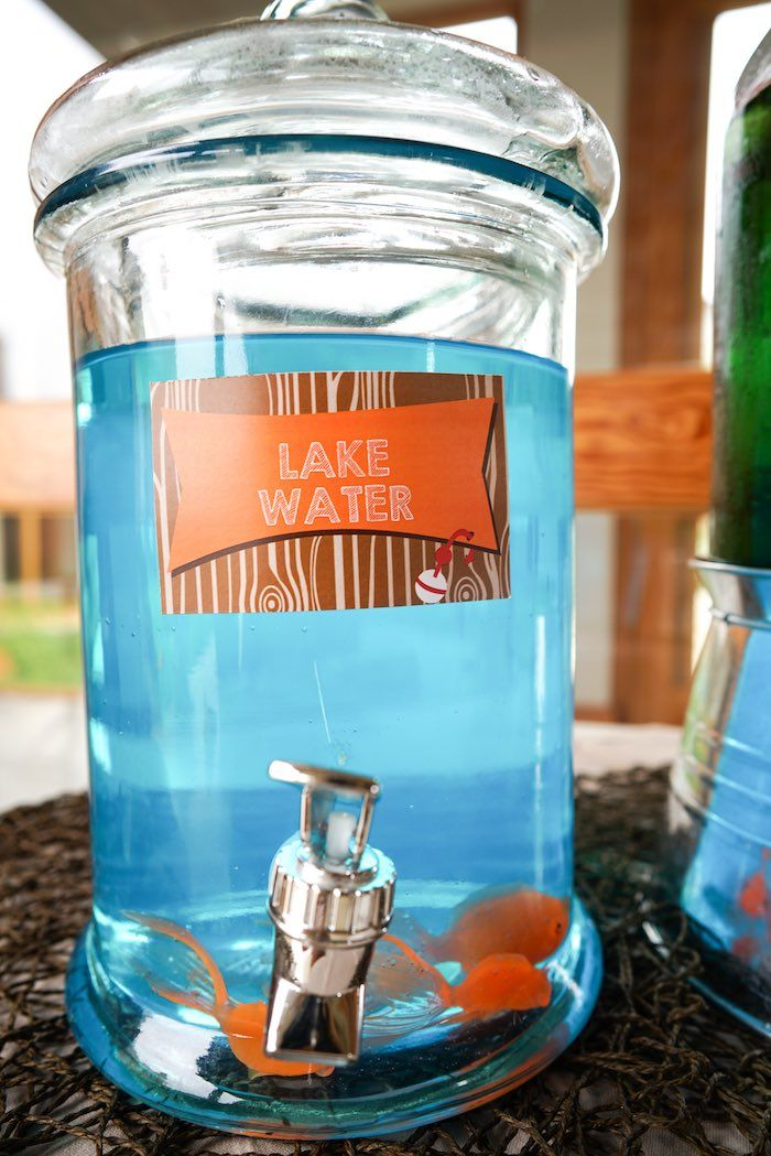Lake water drink from a gone fishing birthday party for Fish themed bathroom