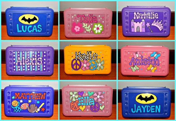 A great way to store pencils, crayons, markers, beads, cards,... or anything!! This storage box measures 8.5 wide by 5.5 by 2.5 high and is