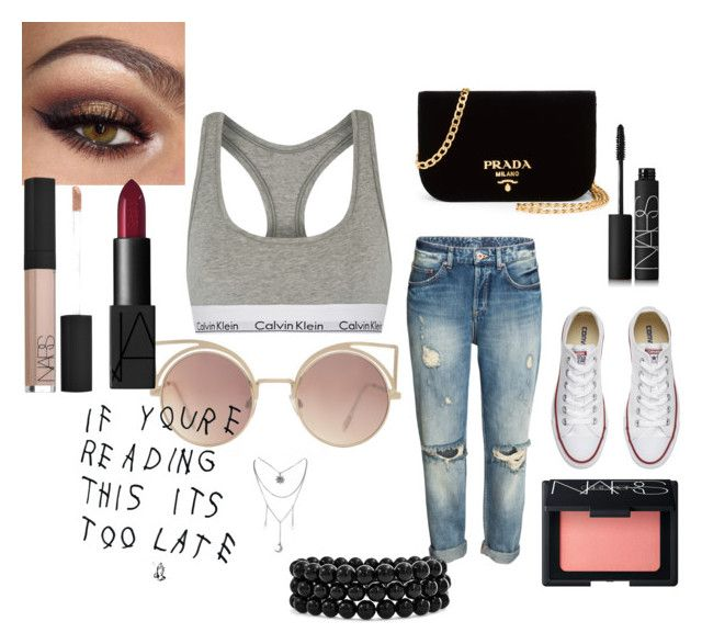 """""""sporty"""" by harrietbuick ❤ liked on Polyvore featuring Calvin Klein Underwear, MANGO, Converse, Prada, NARS Cosmetics and Bling Jewelry"""