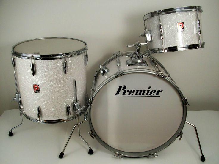 vintage premier drums 1980 in white marine pearl with chrome drums in 2019 vintage drums. Black Bedroom Furniture Sets. Home Design Ideas