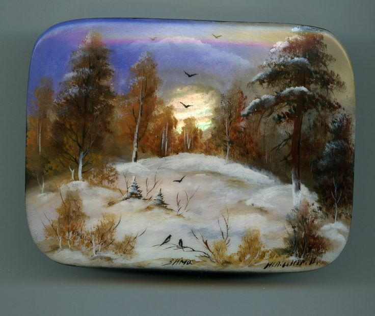 "Russian Lacquer Box ""Winter "" Hand Painted 