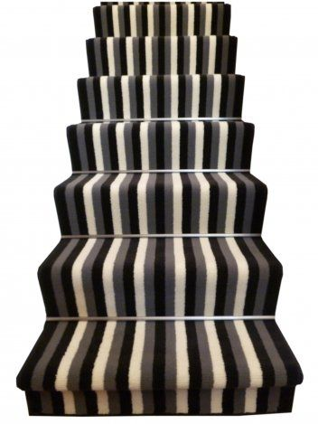 Broad 10 - Black, Grey & Cream Stair Carpet Runner