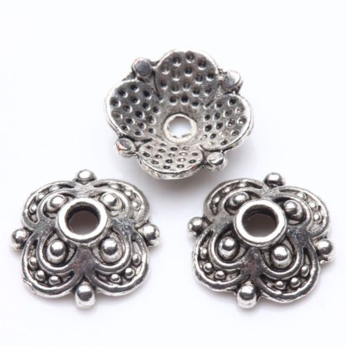 50Pcs-Tibet-Silver-Plated-Flower-Spacer-Bead-Caps-Jewelry-Findings-DIY-10X3mm
