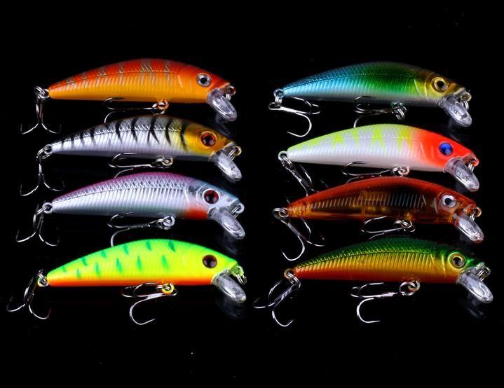 56pcs Lot Mixed Minnow Fishing Lures Bass Baits Crankbaits Fish Hooks Tackle