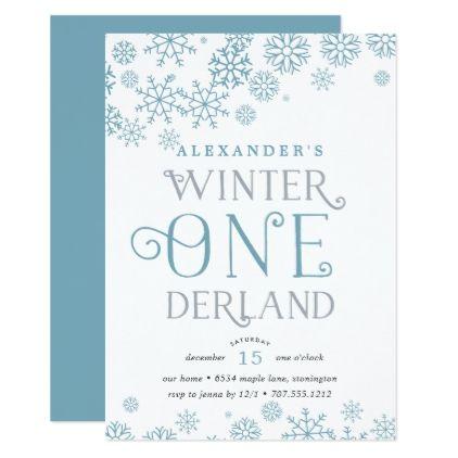 #Winter Wonderland First Birthday Party Invitation - #birthday #invitations