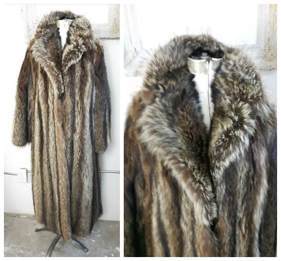 Vintage Full Length Luxury Canadian Raccoon Fur Coat