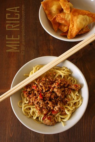 Mie rica (fiery noodles), one of my favorite noodle dishes from Bandung. VERY spicy.