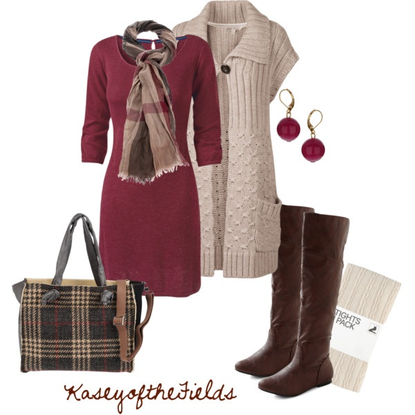Berry, Cream, and Brown: Plaid Mulberry, Fall Style, Church Outfits, Sweaters Dresses, Long Sweaters, The Dress, Fall Outfits, Dresses Outfits, Teacher Outfits