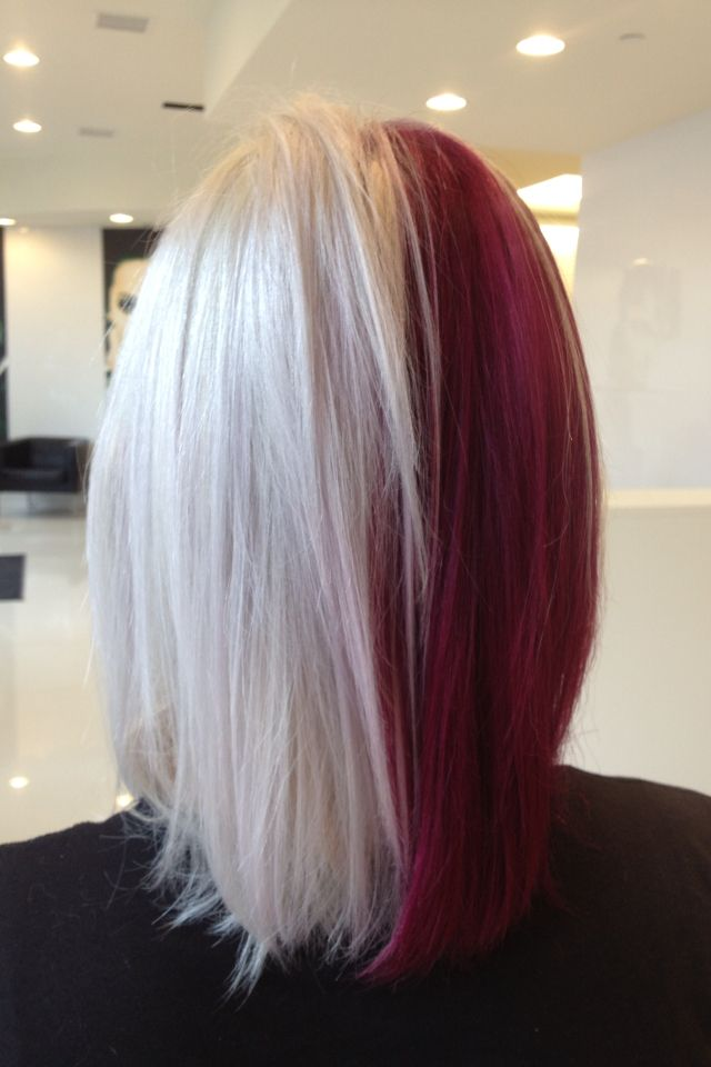 Half and half hair. Red and white. Goldwell color.