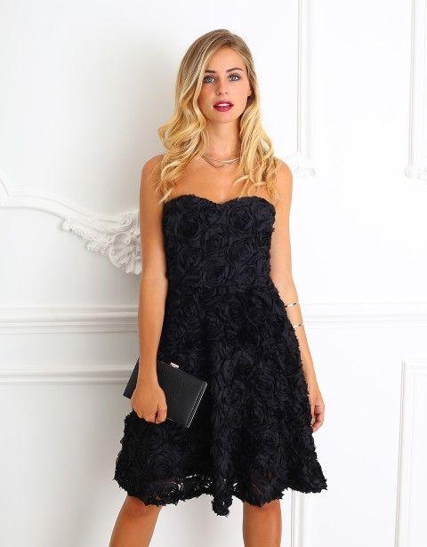 Sukienka rozkloszowana czarna róże 3D gorsetowa