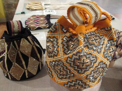 Beaded bags and bracelets by Silvia Tcherassi. The bags/bracelets are woven by Wayuu women in Colombia and Tcherassi embellishes them with rhinestones
