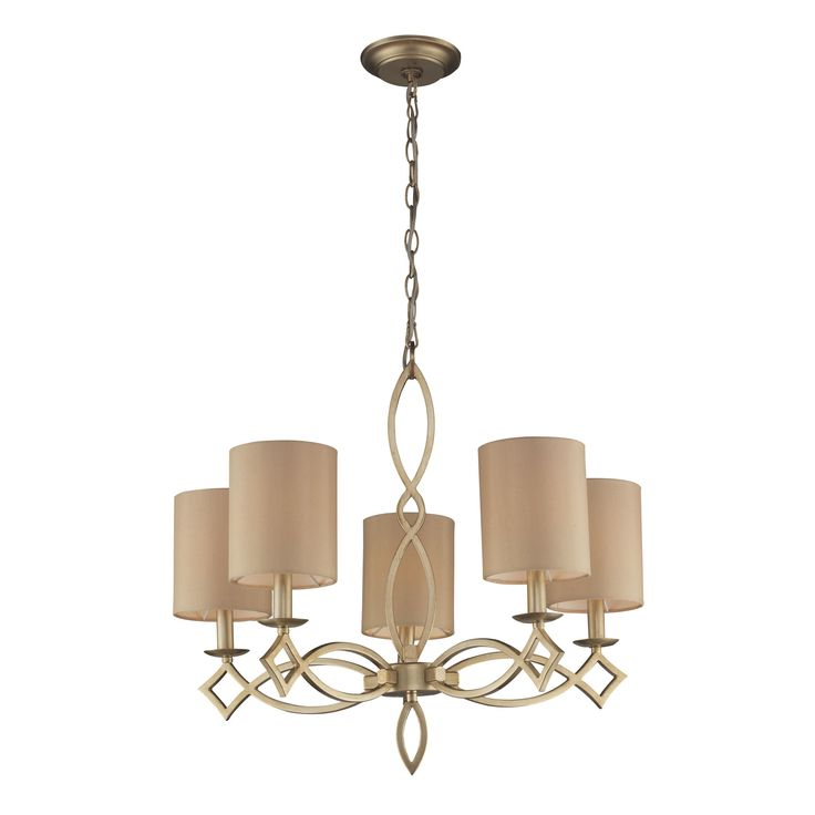 Estonia 5 Light Chandelier In Aged Silver With Shades