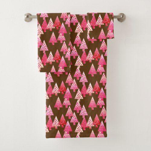 Modern Flower Christmas Trees, coral pink & brown Bath Towel Set