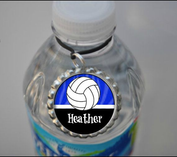 1 Personalized Royal Blue Volleyball Water by FlipflopBottlecaps