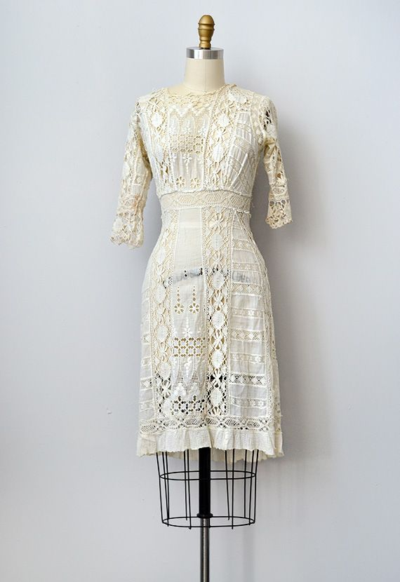 Antique 1910s edwardian lace crochet dress www for Vintage lace wedding dress pinterest