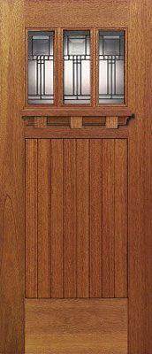 Mahogany Craftsman door with plank panel bottom & three glass lights.