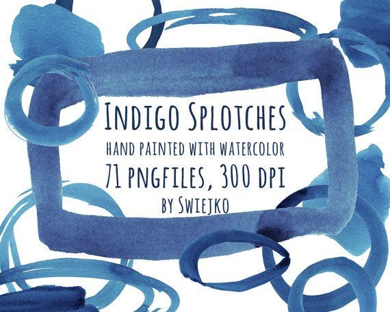 Watercolor Digital Splotches, Frames, Brush strokes, Indigo Clipart set, handpainted clip art, blue blog elements, web design, border, edge