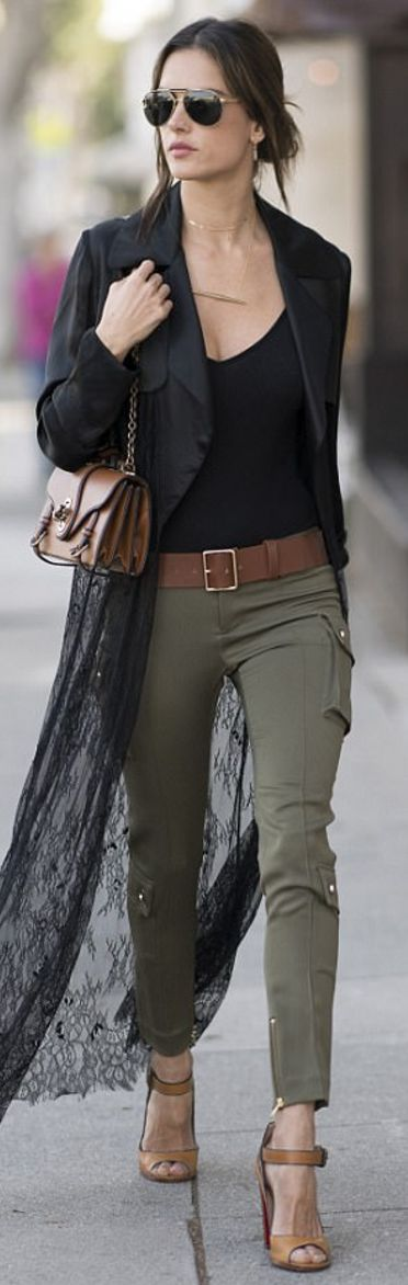 Who made  Alessandra Ambrosio's gold jewelry, lace trench coat, black bodysuit, brown handbag, aviator sunglasses, and sandals?