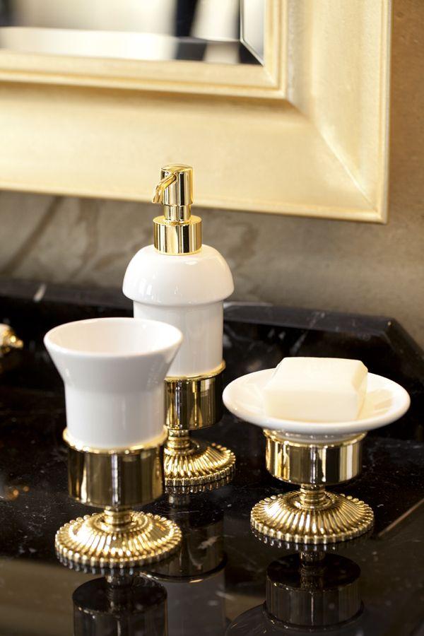Sun ceramic dispenser, soap dish and tumbler holder dark gold.