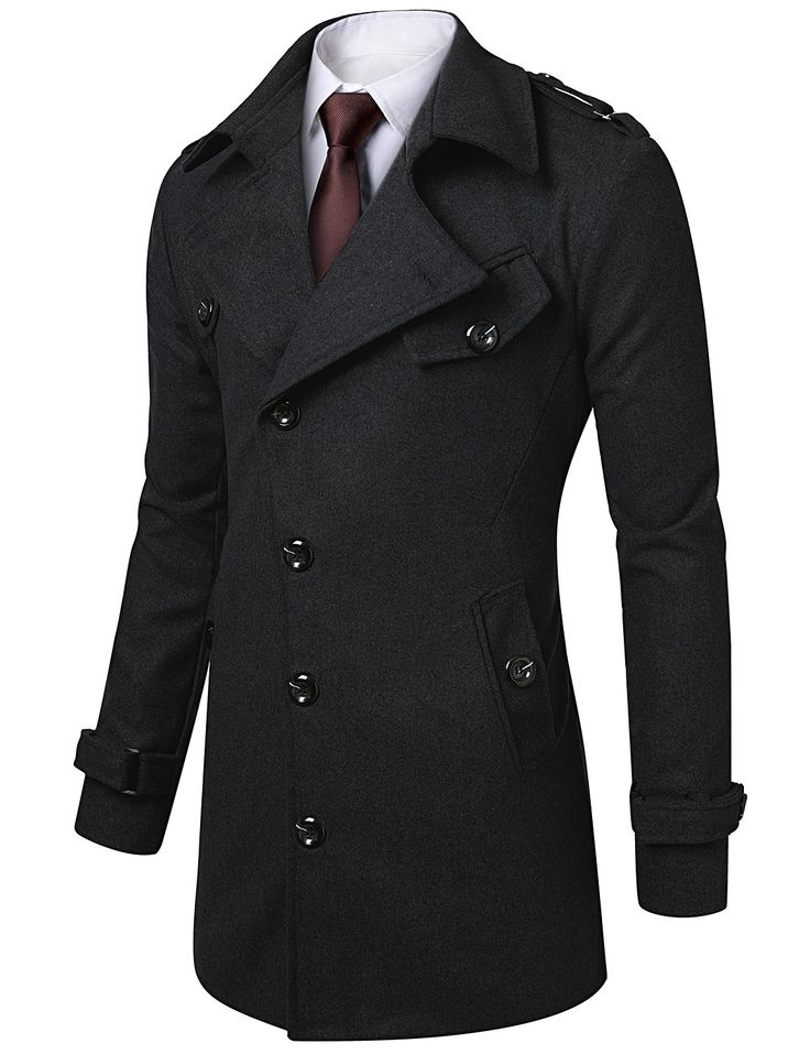 Mens Slim Fit Half Coat with Belt #doublju