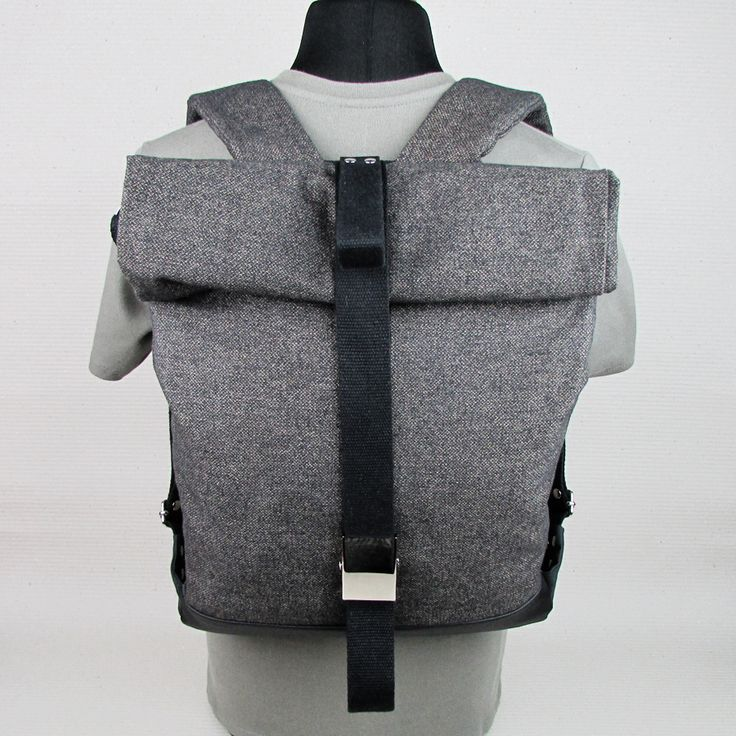 "#insettoamaro ""Backbone"" rollUp city #backpack Velvety canvas with Black eco leather"