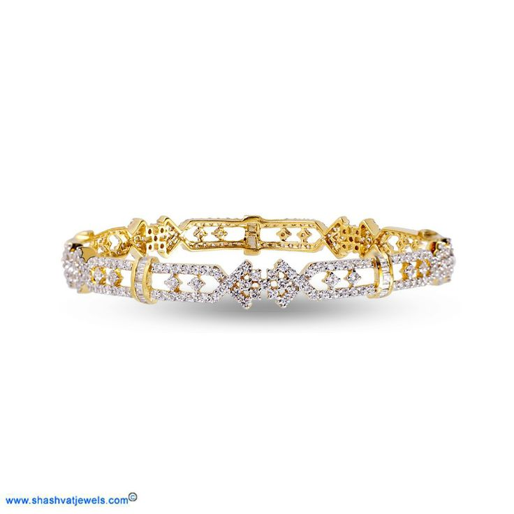 Lovely clusters diamonds are held together by undulating yellow gold rims that are connected by diamond-crusty band. A great traditional occasion bangle! #diamond #bangle #for #her http://www.shashvatjewels.com/ProductDetail.aspx?prdid=1074&name=Traditional%20Cluster%20Diamond%20Women's%20Bangle All our designs are available in white gold and silver..!!