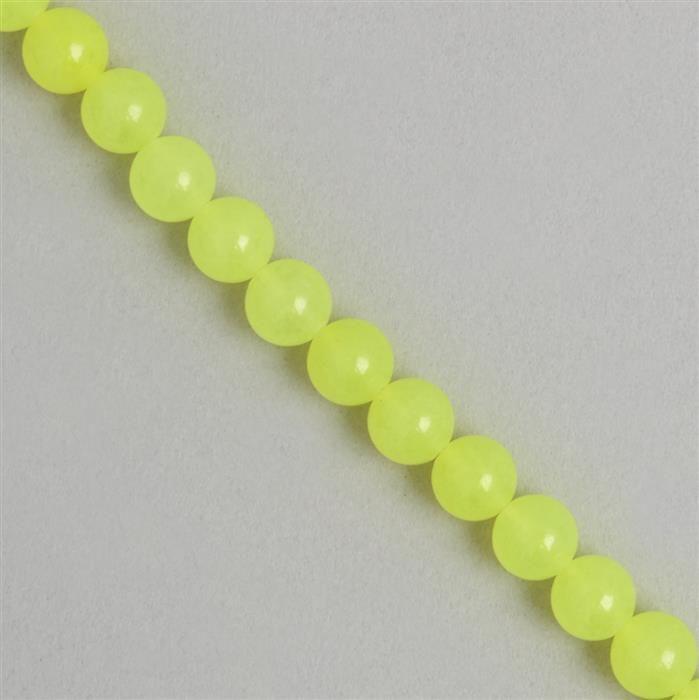 180cts Neon Yellow Colour Dyed Quartz Plain Rounds Approx 8mm, 38cm Strand.