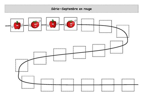 Fiche d'activité niveau maternelle - Logigramme - Série 2 images - Septembre en rouge