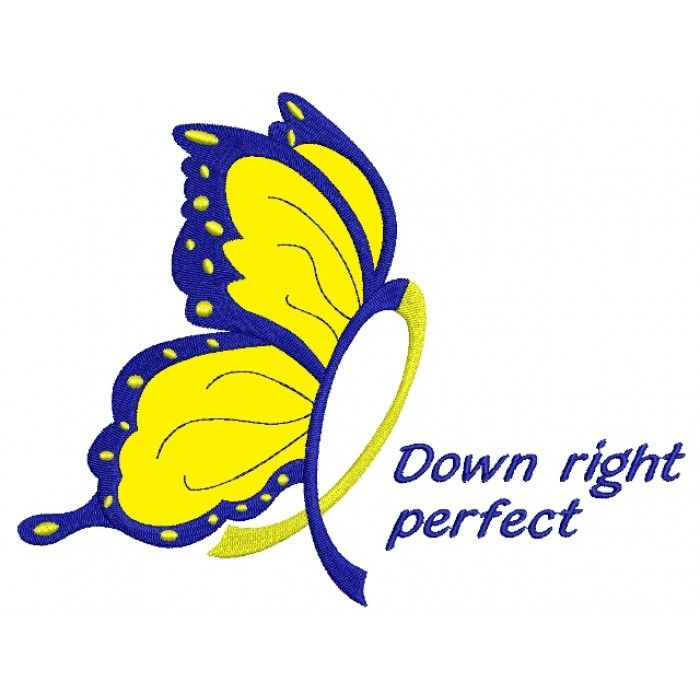 Down Right Butterfly Down Syndrome Awareness Applique Machine Embroidery Digitized Design Pattern #butterfly #embroidery #applique #down
